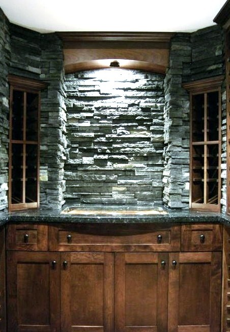 Glass Stone And Maple Wine Cellar